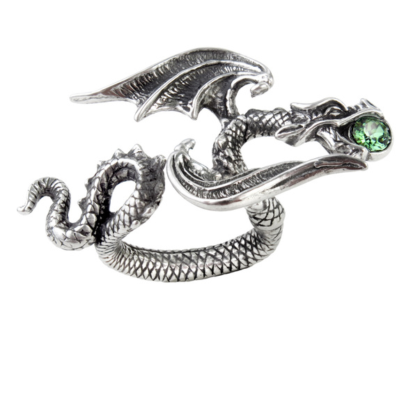 Legends Jewelry - Dragon Ring Emerald Green Swarovski Crystal Pewter
